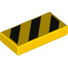 LEGO Tile 1 x 2 with Black Danger Stripes Decoration with Groove (24075)