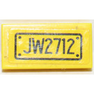 LEGO Tile 1 x 2 with 'JW2712' License plate Sticker (3069)