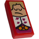 LEGO Tile 1 x 2 with King's Pouting Face Sticker with Groove