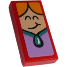 LEGO Tile 1 x 2 with Queen's Smiling Face Sticker with Groove