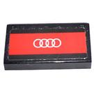 LEGO Fliese 1 x 2 mit Weiß Audi emblem (4 rings) auf rot background  Aufkleber mit Groove (3069)