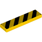LEGO Tile 1 x 4 with Danger Stripes Black (83489)