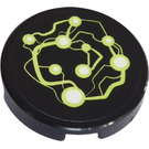 LEGO Tile 2 x 2 Round with Energy Currents Sticker with Bottom Stud Holder