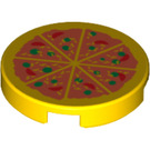 "LEGO Tile 2 x 2 Round with Pizza with ""X"" Bottom (4150 / 81867)"