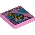 "LEGO Tile 2 x 2 with ""ANGRY DAD"" Decoration with Groove (3068 / 21661)"