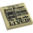 """LEGO Tile 2 x 2 with Daily Prophet """"The Boy who LIVED!"""" Decoration with Groove (3068 / 39616)"""