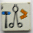 LEGO Tile 2 x 2 with doctor's utensils (right) Sticker (3068)