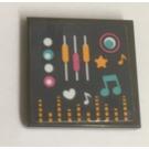 LEGO Fliese 2 x 2 mit music note und coloured sound bars Aufkleber mit Groove
