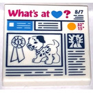 LEGO Tile 2 x 2 with Heartlake Newspaper - What's At (Heart)? with Groove (3068 / 21220)