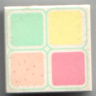 LEGO Tile 2 x 2 with Light Yellow, Light Green, Medium Dark Pink and Light Salmon Squares Pattern with Groove (3068)