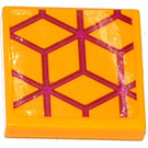LEGO Tile 2 x 2 with Magenta Diamond Cube Geometric Pattern Sticker with Groove