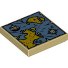 LEGO Tile 2 x 2 with Map Decoration with Groove (19524)