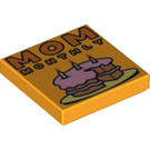 "LEGO Tile 2 x 2 with ""MOM MONTHLY"" Decoration with Groove (3068 / 21659)"