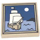 LEGO Tile 2 x 2 with Moon and Ship on Water Decoration with Groove (3068 / 97350)