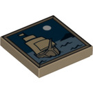 LEGO Tile 2 x 2 with Moon and Ship on Water Decoration with Groove (97350)