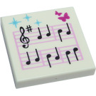 LEGO Tile 2 x 2 with Music Notes Decoration with Groove (3068 / 10215)