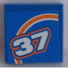 LEGO Tile 2 x 2 with Orange Bow and White '37' Pattern Model Left Side Sticker (3068)