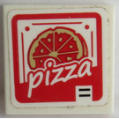 LEGO Tile 2 x 2 with Pizza Box Pattern Sticker with Groove (3068)