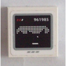 LEGO Tile 2 x 2 with Screen with White '961985' and Pixelated Pattern Sticker with Groove (3068)