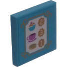 LEGO Tile 2 x 2 with Tea, Cupcake, and Cookie Menu Sticker