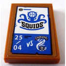 LEGO Tile 2 x 3 with Black 'SQUIDS' and Blue Decoration Sticker
