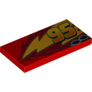LEGO Tile 2 x 4 with '95' (offset), Lightning, Exhaust (Left) (87079 / 95979)