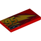 LEGO Tile 2 x 4 with '95' (offset), Lightning, Exhaust (Right) (87079 / 95978)