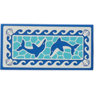 LEGO Tile 2 x 4 with Dolphins, Waves and Shells Sticker (38879)