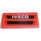LEGO Fliese 2 x 4 mit 'IVECO', Schwarz Gitter Aufkleber