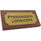 LEGO Tile 2 x 4 with 'PTERANODON LONGICEPS' Sticker