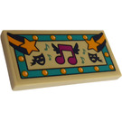 LEGO Tile 2 x 4 with Sheet Music, Stars and Masks Sticker