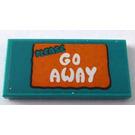 LEGO Tile 2 x 4 with White 'Go Away' on Orange Background Sticker (38879)