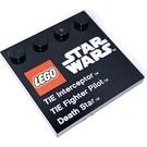 LEGO Tile 4 x 4 with Studs on Edge with Star Wars TIE Fighter Decoration (6179 / 73140)
