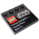 LEGO Tile 4 x 4 with Studs on Edge with X-Wing Starfighter X-Wing Pilot Yavin 4 (6179 / 73139)