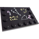 LEGO Tile 4 x 6 with Edge Studs with Blackboard and Chalk Decoration (6180 / 99944)