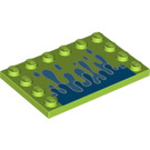 LEGO Tile 4 x 6 with Edge Studs with Water Splash Decoration (89557)