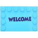 LEGO Tile 4 x 6 with Edge Studs with Welcome Sticker (6180)