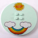 LEGO Tile 8 x 8 Round with 2 x 2 Center Studs with Sun, Rainbow and Two Clouds Sticker (6177)