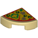 LEGO Tile Quarter Circle 1 x 1 with Pizza Slice Decoration (25269 / 29775)