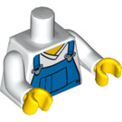 LEGO Torso with blue bib overalls over v-neck shirt (76382 / 88585)