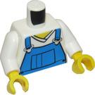 LEGO Torso with blue bib overalls over v-neck shirt (76382 / 88585)