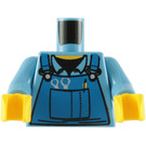 LEGO Torso with Blue bib overalls with pocket, tools, pencil (76382)