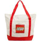 LEGO Tote Bag - White, Lego Logo, Red Handles & Stripes (5005326)