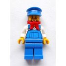 LEGO Train Driver with Overalls and Blue Cap Minifigure