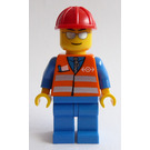 LEGO Train Worker with Orange Safety Vest and Silver Stripes Minifigure