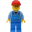 LEGO Train Worker with Overalls and Red Cap and Minifigure