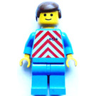 LEGO Train Worker with White and Red Safety Vest Pattern, Blue Legs, Brown Male Hair Minifigure