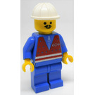 LEGO Train Yard Worker with Red Vest, Blue Shirt with Zipper, Blue Legs, Pointed Mustache, and Construction Helmet Minifigure
