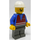 LEGO Train Yard Worker with Red Vest, Blue Shirt with Zipper, Dark Gray Legs, Pointed Mustache, and Construction Helmet Minifigure