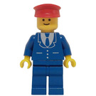 LEGO Trains Minifigure, Suit with 3 Buttons Blue - Blue Legs, Red Hat